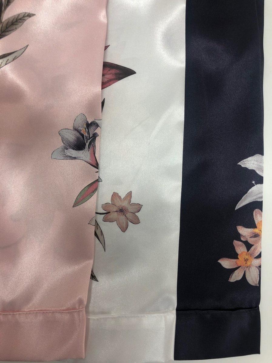 כותונת מיני סאטן הדפס פרחים 1139