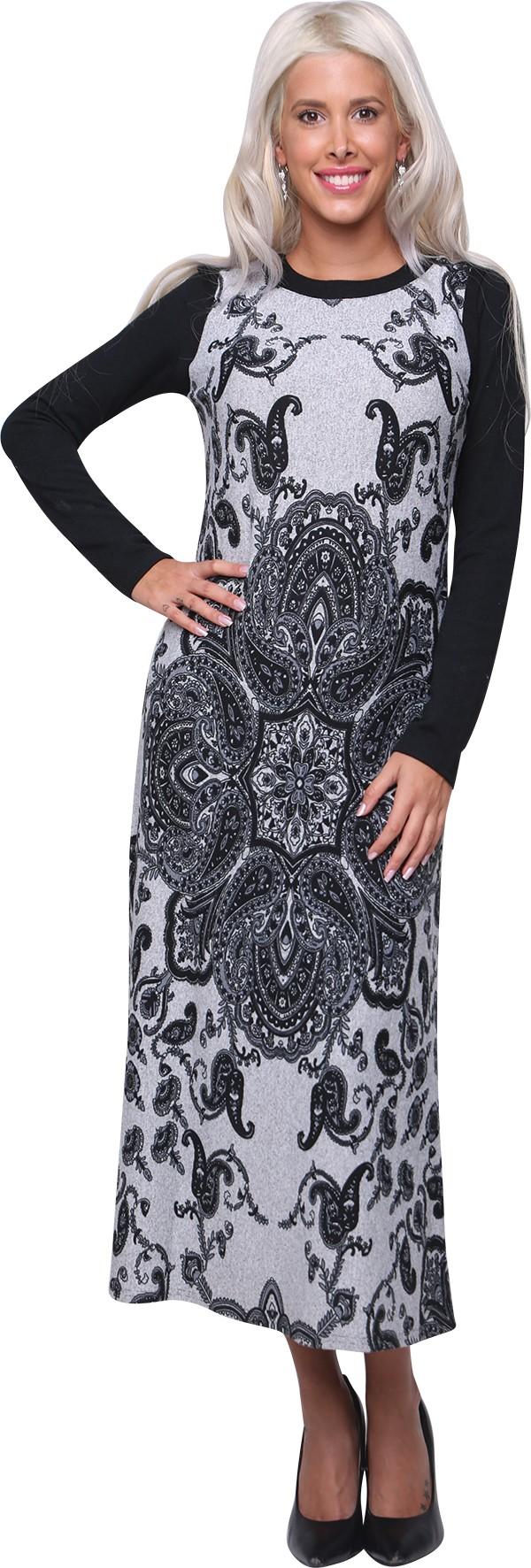 שמלת סריג שילוב מודפס 2B249
