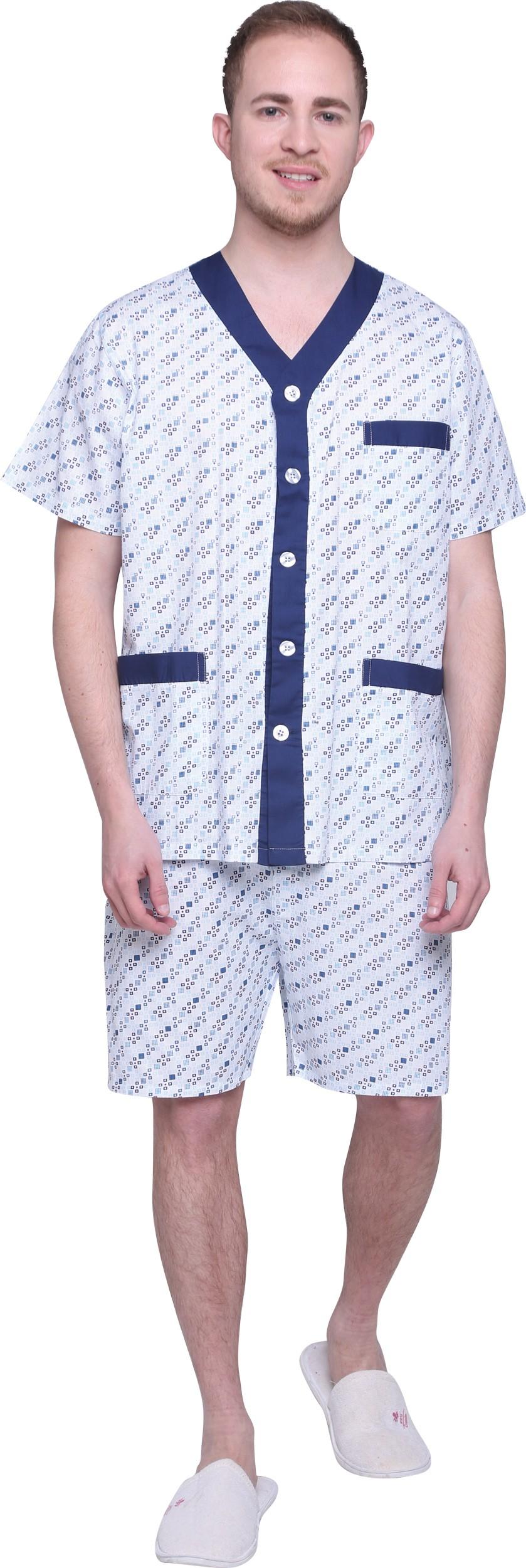 פיג'מה לגבר 100% כותנה 12A844 - מכנס קצר שרוול קצר