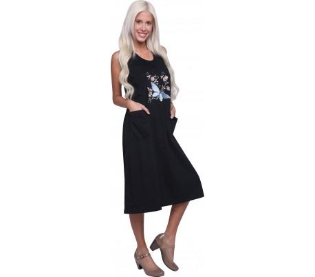 שמלת כתפיות הדפס פרפר 9D219