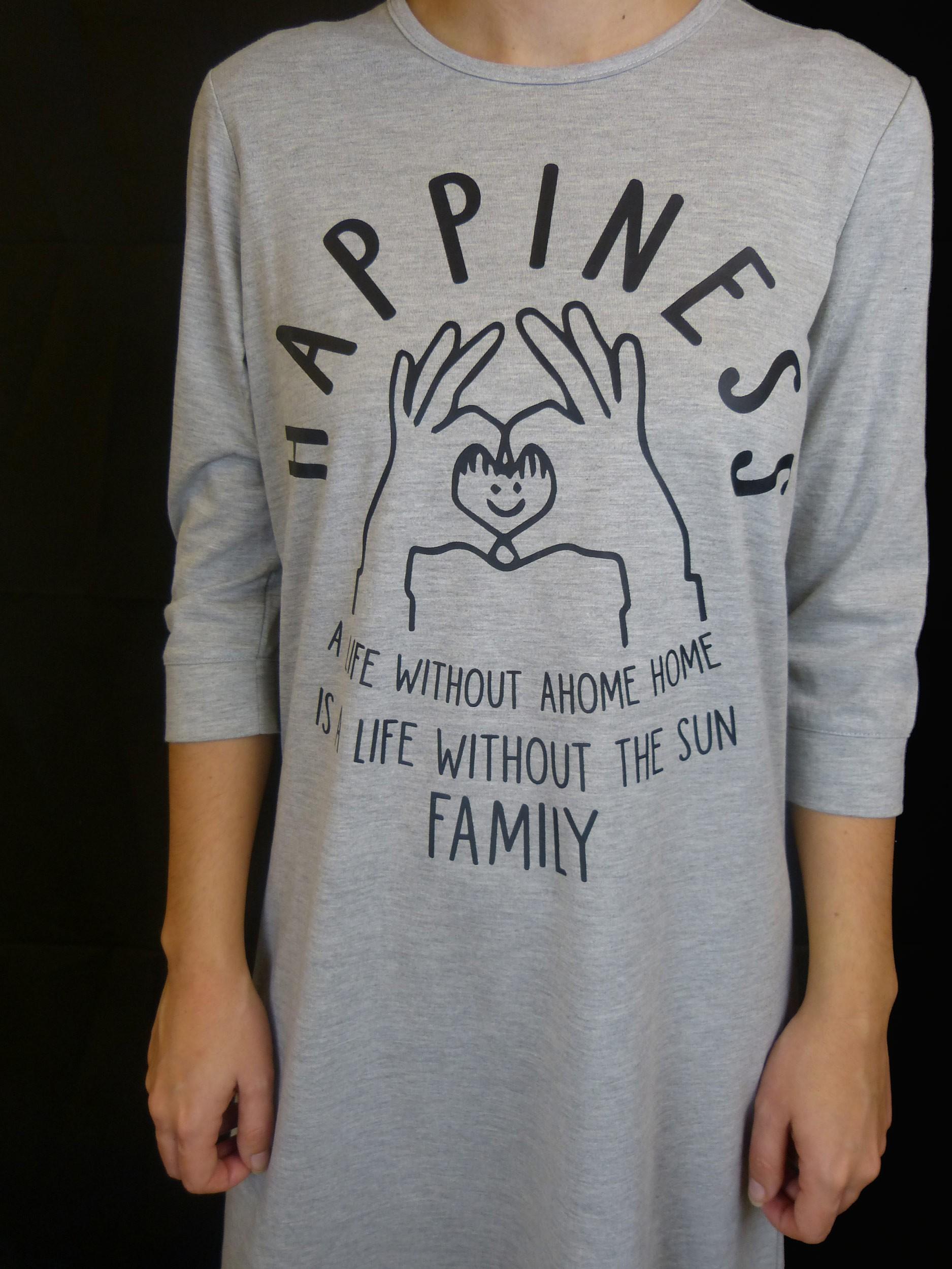 כותונת HAPPINESS שרוול 3/4 אורך מידי